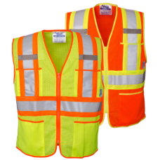 Viking Open Road Zipper Safety Vest Contrasting Stripes